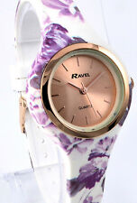 Ravel Ladies Rose Gold Tone Summer Days Watch White & Lilac Floral Silicon Strap