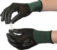 10 Pairs Of UCI PCP-B Black PU Precise Palm Coated Safety Work Gloves Size 8