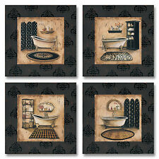 "NEW Set of 4 Vintage Paris Elegant French Bath Art Poster Prints 12x12"" Lux Tub"