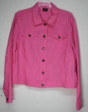 Tribal Sport 100% Linen Jacket Size Large Waist Length Button Front Fitted Waist
