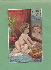 Adorable BABY On MIRROR GLOSS STARCH Of BUFFALO, NY Victorian Trade Card