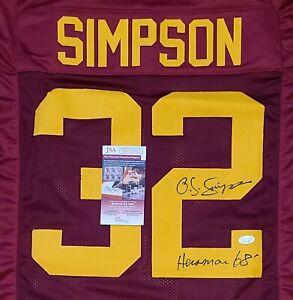 "O.J. Simpson ""Heisman 68"" Signed Auto Maroon Jersey JSA Witnessed COA USC Trojan"