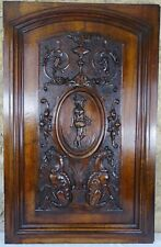 Large French Antique Architectural Carved Solid Walnut Wood Door Panel Griffin