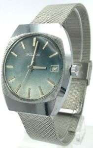 Vintage Retro Mens Soviet Watch POLJOT Date Blue Dial Mechanical Original USSR