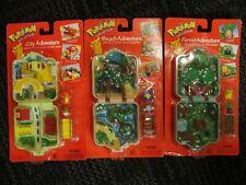 3 Pokemon Adventure Playsets City Forest & Beach 1999 Hasbro Sealed Vintage HTF