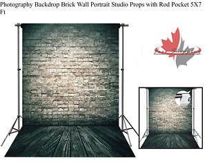 Photography Backdrop Brick Wall Portrait Studio Props with Rod Pocket 5X7 Ft