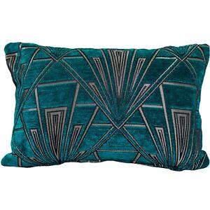 Art Deco Geometric Boudoir Rectangle Cushion. Velvet Chenille Teal Blue & Silver