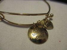 AVON Precious Charms Bracelets Gold tone/Genuine Quartz-Bead Accent MILITARY MOM