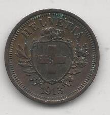 SWITZERLAND,  1913-B,  1 RAPPEN,  COPPER,  CHOICE EXTRA FINE,  KM#3.2