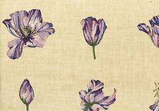 Waverly Fabric Tulip Trance Tan Lavender  Purple Cotton Drapery Upholstery