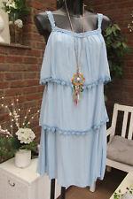 Robe de Plage Crochet Bretelles à Volants Babydoll Tunique Ibiza Bleu 40-42-44
