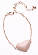 EXQUISITE ROMANTIC LOOK ROSE GOLD TONE CHAIN BRACELET PINK HEART DETAIL (CL18)