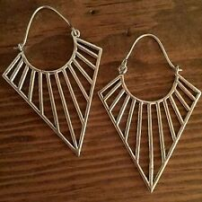 Silver Plated Triangle Sun Ray Modern Tribal Earrings
