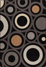 "2x8 Milliken In Focus Onyx Modern Circles Retro Area Rug - Approx 2'1""x7'8"""