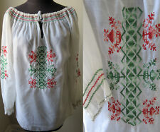Vtg. 70's Hippy Boho Embroidered Long Sleeve Peasant Blouse Top