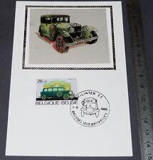 CARTE POSTALE 1er JOUR PHILATELIE 1986 TACOT AUTO BELGIQUE VOITURE IMAGE SOIE