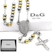 "DG Men's 26"" Beaded Rosary VIRGIN MARY,JESUS CROSS.Necklace.Stainless Steel,BOX"