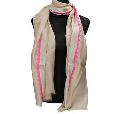 accessori sciarpa stola donna NALI' beige fucsia seta AF446