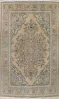 VINTAGE 8x11 MUTED Geometric Persian Oriental Hand-Knotted Wool Distressed Rug