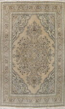 VINTAGE 8x11 MUTED Geometric Oriental Hand-Knotted Wool Distressed Rug