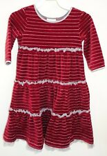 New Hanna Andersson Cranberry Striped Lurex Velour Dress Girl's Size 120, 6-8