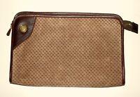 VINTAGE 70'S *RIKE'S DAYTON DISCO BOHO HIPPIE TAN DOT SUEDE CLUTCH BAG PURSE