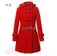 Women Winter Wool Blend Double Breasted Trench Coat Hooded Slim Fit Parka Jacket