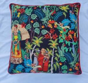 Black Frida Khalo With Red Piping Cushion Cover Indian 22x22 Sofa Pillow Case US