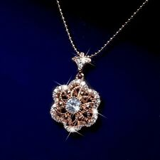 18k rose gold gf crystal flower windmill 3D filigree pendant chain necklace