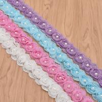 2yds Flower Pearl Lace Edge Trim Ribbon Wedding Applique DIY Sewing Craft