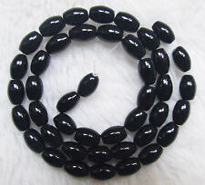 """6x9mm Natural Black Onyx Smooth Barrel Loose Beads 15.5"""""""