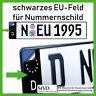 2x EU-Feld Kennzeichen Sticker Aufkleber Schwarz ✔ #wrappingmonkeys