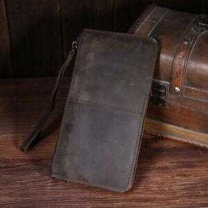 Men Crazy Horse Leather Clutch Bag Wrist Purse Card Cion Case Holder Pack Wallet