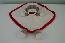 Baby Starters Sock Monkey Lovey Blanket Red Brown Cream Security Rattle Toy