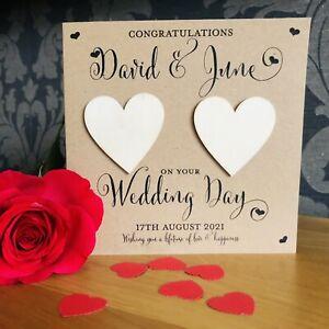 Personalised Handmade Wedding Day Card Kraft Card FREE HEART CONFETTI INCLUDED❤️