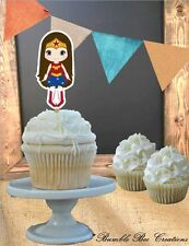 Superhero Wonder Woman Theme Cut Cupcake Toppers (Set of 12)