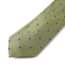 NWT $295 CESARE ATTOLINI Leaf Green-Sky Blue Floral Jacquard Silk Tie