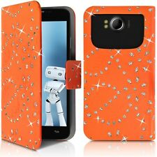 Housse Etui Portefeuille Motif Diamant Universel M orange pour Doogee DG280 Leo