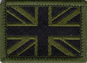 Union Jack UK British Flag Woven Badge Patch Military Olive & Black 3.9 x 2.8cm
