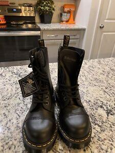 Dr Martens Doc Black Steel Toe Fashion Boots 10 Eye 10966 Women's Sz 7/Men's 6