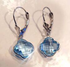 Blue Topaz Clover Dangling Earrings in 14KT White Gold