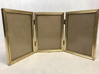 Vintage Tri-Fold Gold Tone Ornate Metal Picture Frame 5x7 Real Glass Mid Century