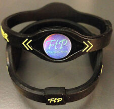 (2pcs) Power Energy Band Bracelet Wristband (SMALL BLACK/YELLOW) FAST SHIP
