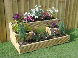 Premium Triple Tiered Garden Level Steps - Wooden Timber Decking Planter Trough