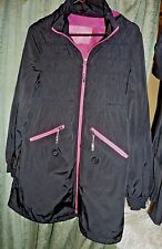 Betsey Johnson Women's M Black Smocked Windbreaker Jacket Coat hot pink
