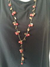 STYLISH BRONZE EFFECT STATEMENT RED CHERRY BEADED NECKLACE