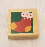 Christmas Stocking Hearts Rubber Stamp Wood Mounted