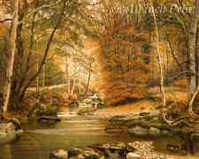 Autumn Woods by James Watts - Fall Trees Gold River Creek Brook 8x10 Print 1899