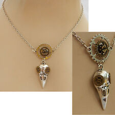 Silver Steampunk Bird Skull Pendant Necklace Handmade NEW Silver Adjustable