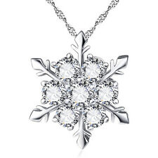 New Women Silver Plated Crystal Frozen Snowflake Rhinestone Pendant Necklace
